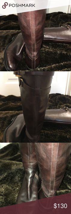 """Ecco brown leather tall boots Ecco brown leather tall boots. Deep rich brown color leather. Stacked low heel. Size 40.  Adjustable tabs at calf allow fit to different calf sizes. Smooth brown leather. Measures 16"""" tall and circumference 15"""" at widest part of boot. Gold tone buckles. No trades. Ecco Shoes Winter & Rain Boots"""