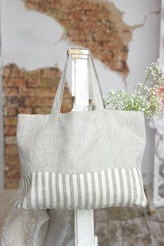Two-sided linen shopper bag