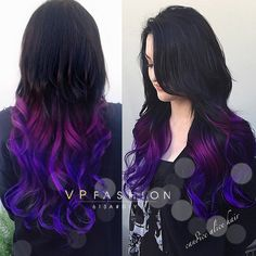 Black to Purple Mermaid Colorful Ombre Indian Remy Clip In Hair Extensions C022 [C022] - VPfashion.com