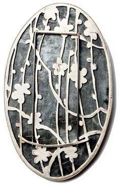 bettina speckner, cinderella   brooch back, 2010 photoetching in zinc, silver, diamonds 8 X 5 cm