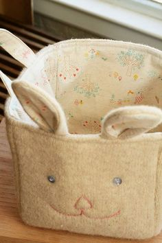 Upcycle a Sweater to Bunny Basket + Sew Perfect Corners - Free Sewing Tutorials
