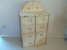 PRIMITIVE Antique Spice Cabinet/Apothecary 8 drawer Painted Shabby white