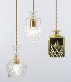 The Decanterlights: The Decanterlights are one of a kind, each made from lead crystal decanters that have been hand sourced from antique markets and vintage shops.