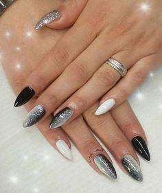 My work, nail art, dark&white, love - - Nageldesign - Work Nails, My Nails, Fancy Nails, Trendy Nails, Black Nail Designs, Nail Art Designs, Nails Design, Bridal Nail Art, Elegant Nails