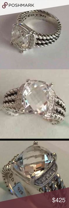 David Yurman Wheaton 10x8mm white topaz w/pouch DY 925 white topaz no longer available in the collection and rare to find .  Gift condition and a size 5. David Yurman Jewelry Rings