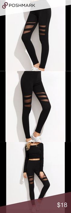 "Mesh insert leggings Black mesh insert cut out leggings...poly/spandex... One size...measurements include:  hip 26.4"", waist 23.6"", length 35.8"", thigh 15"".  Brand new Pants Leggings"