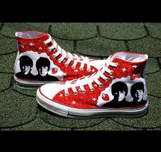 SALE Beatles Converse shoes  hand painted by BaconFactory on Etsy, $140.00