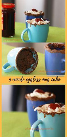 5 minute eggless chocolate mug cake egglessdesserts Delicious Cake Recipes, Yummy Cakes, Dessert Recipes, Amazing Recipes, Delicious Food, Mug Cake Microwave, Microwave Recipes, Banana Recipes, Donut Recipes