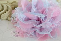 """NEW : 2 pieces 3.5"""" Shabby Chic Frayed Chiffon Mesh and Lace Rose Fabric Flower - Baby Pink w/ Pale Blue lace by Hennytj on Etsy https://www.etsy.com/listing/128374889/new-2-pieces-35-shabby-chic-frayed"""