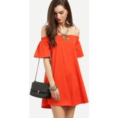 Bardot Flounce Sleeve Flare Dress (42 RON) ❤ liked on Polyvore featuring dresses, orange, red orange dress, orange dresses, flared sleeve dress, flutter sleeve dress and ruffle dress