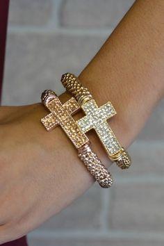 Blingy Cross Bracelet-Luv them Cute Jewelry, Jewelry Box, Jewelery, Jewelry Accessories, Fashion Accessories, Women Jewelry, Silver Jewelry, Bling Bling, Bracelet Watch