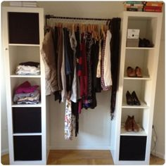 Closet option - two shelf units from Ikea plus a rod in-between! clean