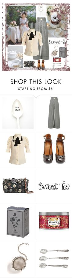 """Tea date with the girls"" by gagenna ❤ liked on Polyvore featuring Milk + Honey, Petar Petrov, Chloé, Coach, Kusmi Tea, Martha Stewart, Mud Pie, contest, chloe and widelegpants"