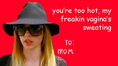 my freakin vagina Bad Valentines Cards, Valentines Tumblr, Nerd Valentine, Ahs Funny, Funny Shit, Funny Pics, American Horror Story Quotes, Tate And Violet, H Words