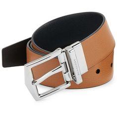 Burberry James London Reversible Leather Belt ($495) via Polyvore featuring men's fashion, men's accessories, men's belts, mens reversible leather belt, mens leather belts, mens belts and burberry mens belt