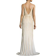 Jovani Sleeveless Beaded Evening Gown, White/Gold ($580) ❤ liked on Polyvore featuring dresses and gowns