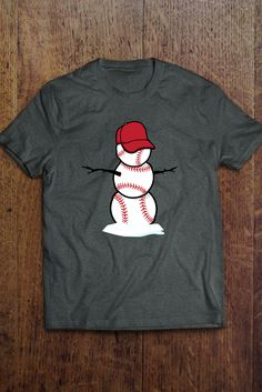 Cool Baseball Holiday Snowman Shirt. Fun and unique gift idea for the ultimate baseball fan or player. Season may be over, but we are always ready for baseball. Winter baseball training will soon begin.