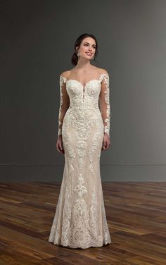 1015 Lace Wedding Dress with Off-the-Shoulder Long Sleeves by Martina Liana. Bridal Gown Available at The Wedding Studio Greenwood Elegant Wedding Dress, Perfect Wedding Dress, Dream Wedding Dresses, Designer Wedding Dresses, Bridal Dresses, Wedding Gowns, Lace Wedding, Glamorous Wedding, Bridal Gown