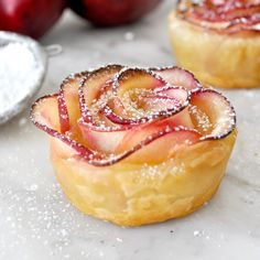 Puff Pastry Apple Rose Recipe. It looks like a beautiful red rose. It tastes just like apple pie!  Impress your guests with these stunningly delicious Puff Pastry Apple Roses. Scoop of vanilla ice cream, anyone?