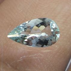 0.6 Cts Natural Aquamarine Green Beryl 9x5 MM Pear Shape Loose Faceted Stone  #NAAZGEMS