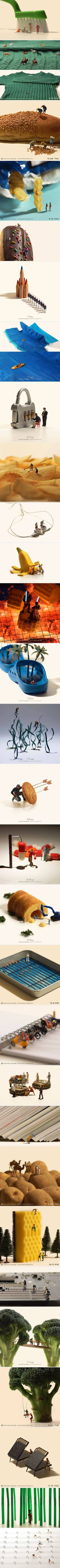 Tiny figurines interacting with everyday objects in interesting ways (By Miniature Calendar)