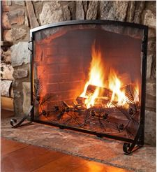 Pine Cone Flat Guard Fireplace Screen, Large
