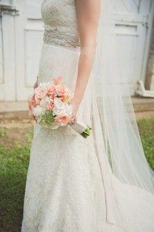 pink wand white bridal bouquet
