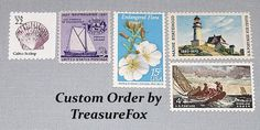 Reserved Custom Order for Star. Unused Vintage US Postage Stamps for mailing wedding invitations by TreasureFox on Etsy