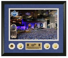 "Royals Authentics ""25 Days of Christmas Gift Ideas"" Day 5. You've seen the parade photos but you haven't seen one quite like this before... get it in the link below. Commemorative frame features a day and night shot of Union Station from the historic 2015 World Series parade in Kansas City along with a gold medallion for each round of the Postseason and World Series game-used dirt."