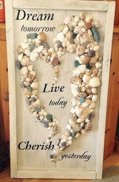 Sea Shell Heart on Wood Frame. I loved making this heart. It is made from all the rocks and shells we collected on our trip to PEI & New Brunswick. I got the letters from Dollarama. Summer Crafts, Diy And Crafts, Craft Projects, Crafts For Kids, Seashell Art, Seashell Crafts, Cleaning Sea Shells, Driftwood Projects, Craft Things