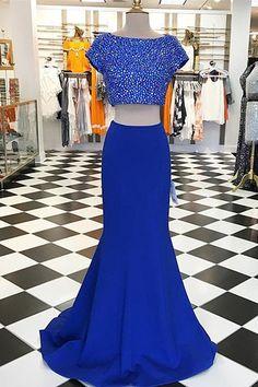 2017 prom dresses,royal blue prom dresses,2 pieces prom dresses,sparkling prom dresses