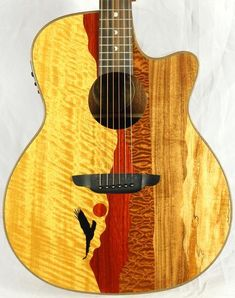 Acoustic Electric Guitars Musical Instruments & Gear Able New Luna Vista Eagle Tropical Woods Acoustic Electric Guitar W/ Ohsc