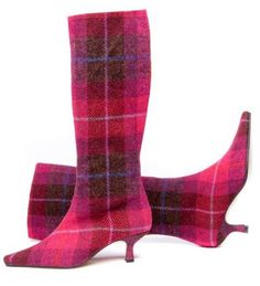 Gorgeous cerise tartan boots from Mandarina Shoes.