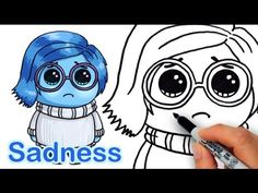 How to Draw Sadness from Pixar Inside Out Cute Step by step