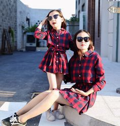 Pattern Type: Plaid - Genero: Girls - Genero: Woman Style: Casual Material: Cotton Item Type: Dresses Fit: Fits true to size, take your normal size Sleeve Length: Full Material: Cotton Blend Style: Ca