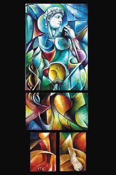 David futurista - Acrilico su 4 cartoni telati, assemblati in una pittoscultura. 120 x 50. 2013