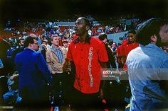 Fotografia de notícias : Michael Jordan of the Chicago Bulls walks against...