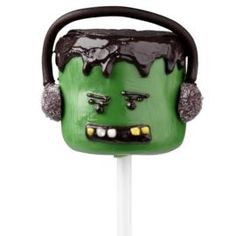 Frank-N-Rock Marshmallow Pops - Rock out this Halloween with this groovy monster. Delicious Candy Melts candy gives him that slick, cool 'do. Halloween Desserts, Halloween Cupcakes, Halloween Food For Party, Halloween Treats, Happy Halloween, Wilton Cake Decorating, Cake Decorating Tools, Monster Cake Pops, Frankenstein's Monster