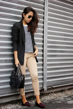 Cropped pants and an oversized blazer