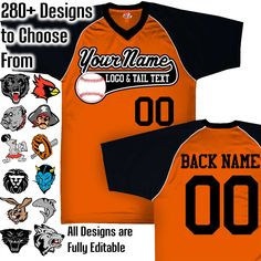 New from HK Sportswear - Fully Custom Baseball Jerseys shop: Orange, Black and White Custom Ba Purple And Black, Navy And White, Navy Blue, Softball Jerseys, Team Mascots, Custom Football, Mascot Design, Royal Red, Columbia Blue
