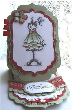 Shaped easel card using katy sue fabulous fashion stamps, spellbinders labels. Inspiration Cards, Card Making Inspiration, Final Class, Dress Card, Easel Cards, Card Tutorials, Folded Cards, Cardmaking, Card Stock