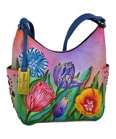 This Anuschka Handbags Turkish Tulips Studded Hand-Painted Leather Hobo by Anuschka Handbags is perfect! #zulilyfinds
