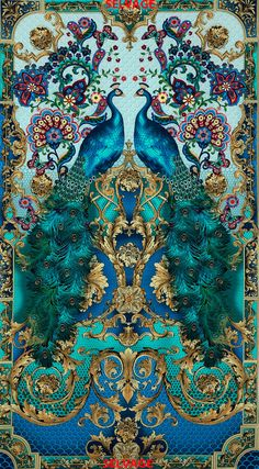 """""""RESERVED DR. V. Turquoise color Peacock print fabric from Timeless Treasures per panel"""" Oh how lovely. and the butterflies are just as vibrant as the peacocks :)"""