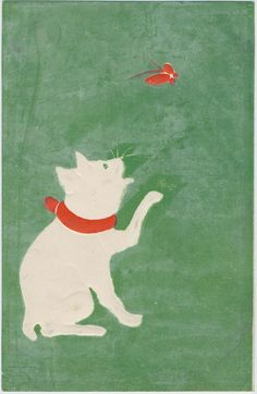 Cat and Butterfly: Japanese, late Meiji era, artist unknown.  Color lithograph and embossing.