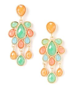 Look at this Gold & Coral Chandelier Earrings on #zulily today!