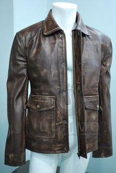 Indiana Jones Vintage Brown Distressed Cowhide Handmade Classic Men's Leather Jacket on Etsy, $139.99