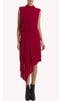 ruby red Dress sheer floating fabric