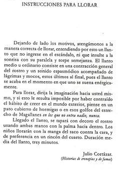 'Instrucciones para llorar', Julio Cortázar