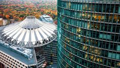 https://flic.kr/p/dtqp3s | Out of the Ashes | The Sony Center is a Sony-sponsored building complex located at the Potsdamer Platz in Berlin, Germany.   An arial view shows off the design of the Sony Centre roof in Potsdamer Platz, Berlin.  The site was originally a bustling city centre in the early 20th century. Most of the buildings were destroyed or damaged during World War II. From 1961 on, most of the area became part of the No Man's Land of the Berlin Wall, resulting in the destruction…