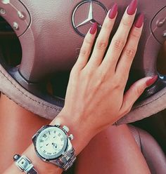 Great Nail idea. Oval matte red nails